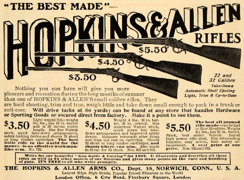 1907 Ad Hopkins Allen Rifles Norwich Firearms Pricing - Original Print Ad