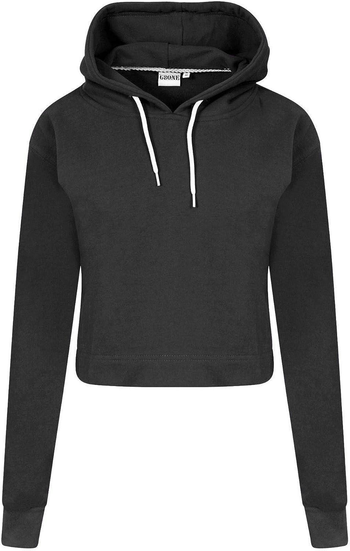 Ladies Crop Hoodie Women Pull Over Plain Casual Short Hooded Sweat Shirt Top