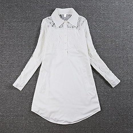 ba608205c32b Camicia Donna Elegante Bianco in Pizzo Maniche Lunghe Risvolto con Bottoni  Vintage Moda Casual Lunghi Camicetta Bluse Top: Amazon.it: Abbigliamento