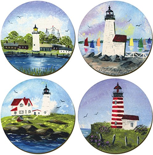 Lighthouses of New England Coasters - Set of 4