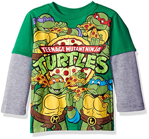 [Teenage Mutant Ninja Turtles Toddler Boys Long Sleeve Two-Fer T-Shirt with Thermal Sleeves, Green/Grey,] (Green Teenage Mutant Ninja Turtle)