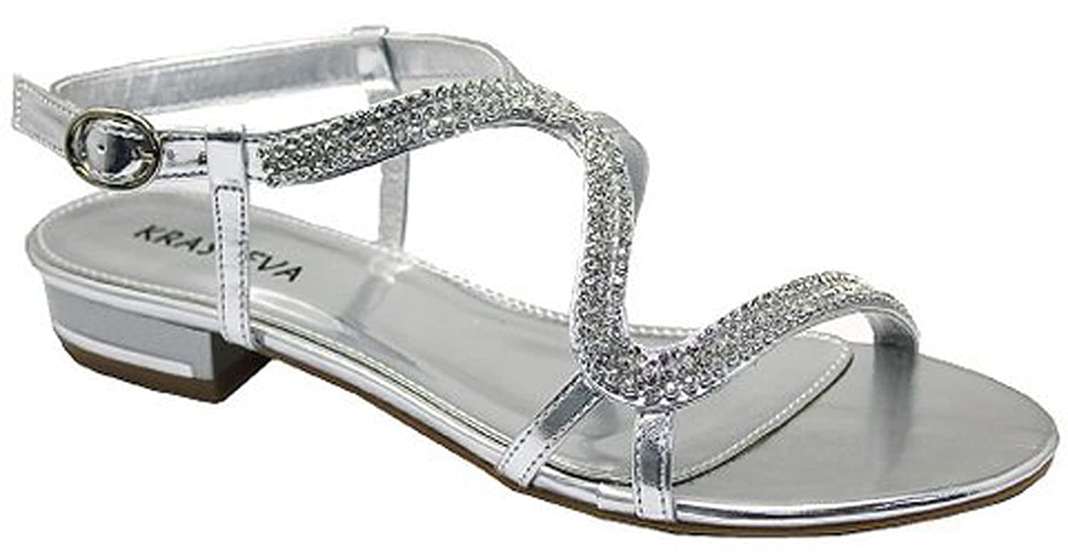 Chic Feet Diamante Flat Low Heel Prom Evening Wedding Sandals