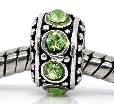 Fashion Jewelry Official Website August Birthstone Light Green Rhinestone Spacer Charm For European Bead Bracelet