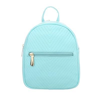 63e8a07be7b1e Ital-Design Damen-Tasche Sehr Kleine Rucksack Freizeittasche Kunstleder  Hellblau TA-M1138