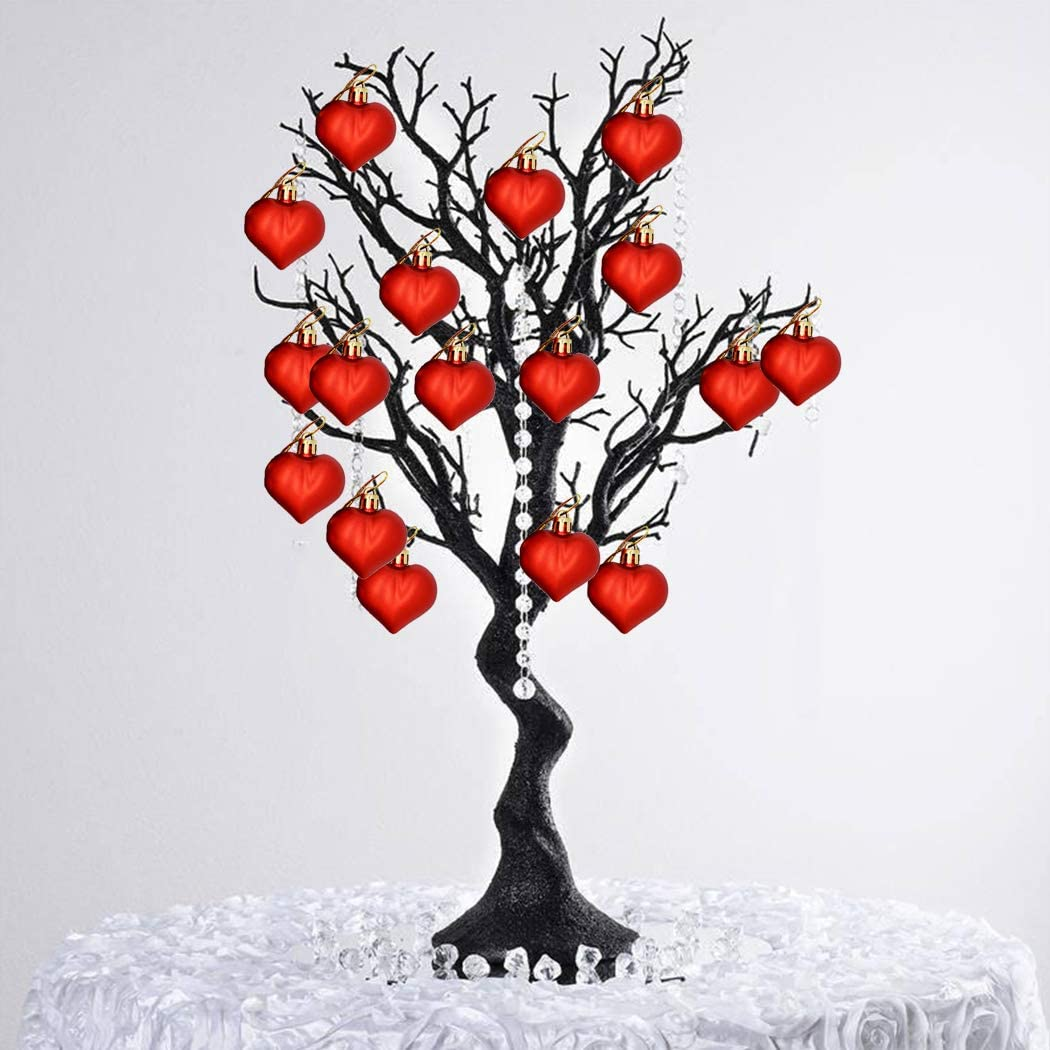 Coxeer Christmas Tree Ornaments Heart Hanging Ornament New Year Hanging Decor Valentines Day Decoration Party Supplies 12PCS Christmas Heart Ornament Set