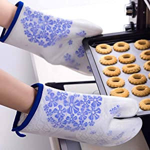 Firsmat Heat Resistant Gloves, Silicone Oven Gloves,Food Grade Kitchen Ovens Mitts for Heat Microwave Baking Pans,2 Pack