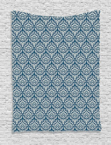 XHFITCLtd Damask Decor Tapestry, Floral Ornamental Damask Pattern Victorian Style Baroque Organic Motifs Stencil Art, Bedroom Living Room Dorm Decor, 40 W x 60 L Inches, Blue White -