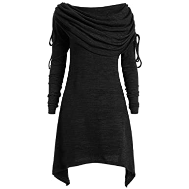 5ccfa63276b DEZZAL Women s Plus Size Long Sleeve Fold-Over Collar Ruched Long Tunic  Tops (Black