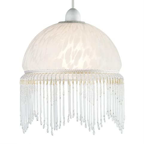 Modern Shabby Chic White Glass Ceiling Pendant Light Lampshade