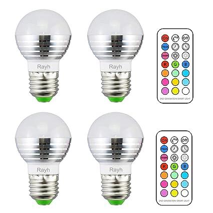 Amazon.com: rayh E26 bombillas LED 3 W RGBW LED que cambian ...