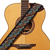 Amumu Vintage Comfortable 2.3in Wide Celtic Knot Woven Guitar Strap Adjustable Length from 35in to 61in w/Headstock Strap Adapter and 2 Pieces Strap Locks