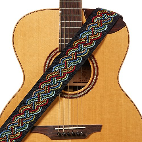 Amumu Celtic Knot Guitar Strap Multi-Color Polyester for Acoustic, Electric and Bass Guitars with Strap Blocks & Headstock Strap Tie - 2.3