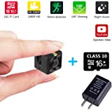 Mini DV Camera Sports Full HD1080P Smallest Camcorder 16GB TF card 3.6mm IR Night Vision Mini Car DVR Video Recorder Monitoring Motion Detection Wireless Portable Tiny Sports Action Camera Black