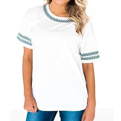3c439e7eee Beautyjourney T Shirt Imprimé Femme, Polo Femme Panier Plus Femmes Feuilles  Broderie Manches Courtes Tops