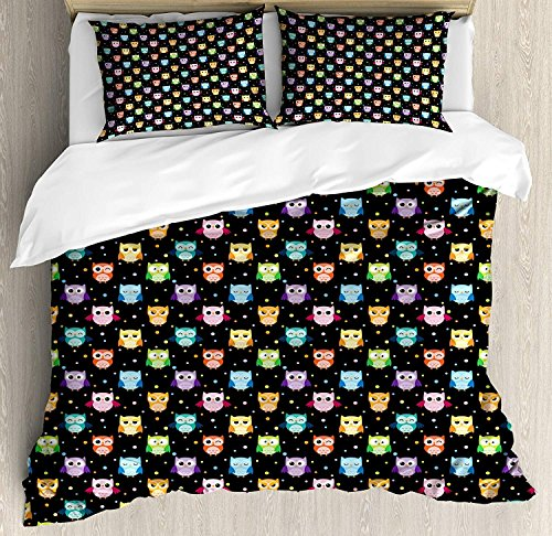 Owls 4 Piece Duvet Cover Set Twin Colorful Birds with Differ