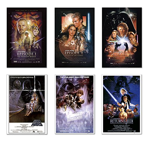 Star Wars: Episode I, II, III, IV, V & VI - Movie Poster Set (6 Individual Full Size Movie Posters) (Size: 24