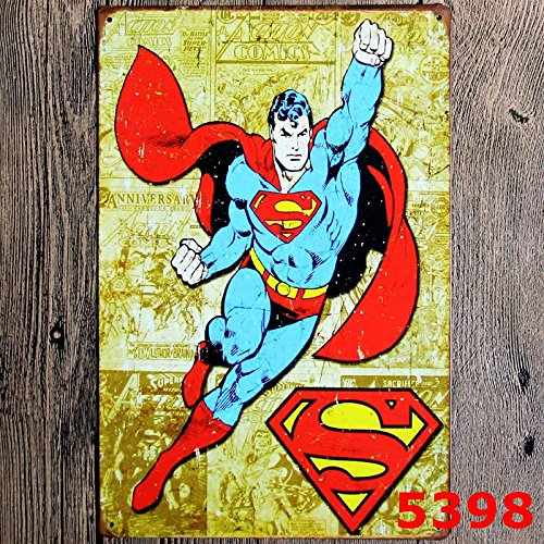 Book Poster Red (NA Blue Red Yellow Superman Themed Tin Wall Art, Comic Book Poster, Justice League Super-Man Kryptonite Superhero Clark Kent Cape Vintage, Metal)