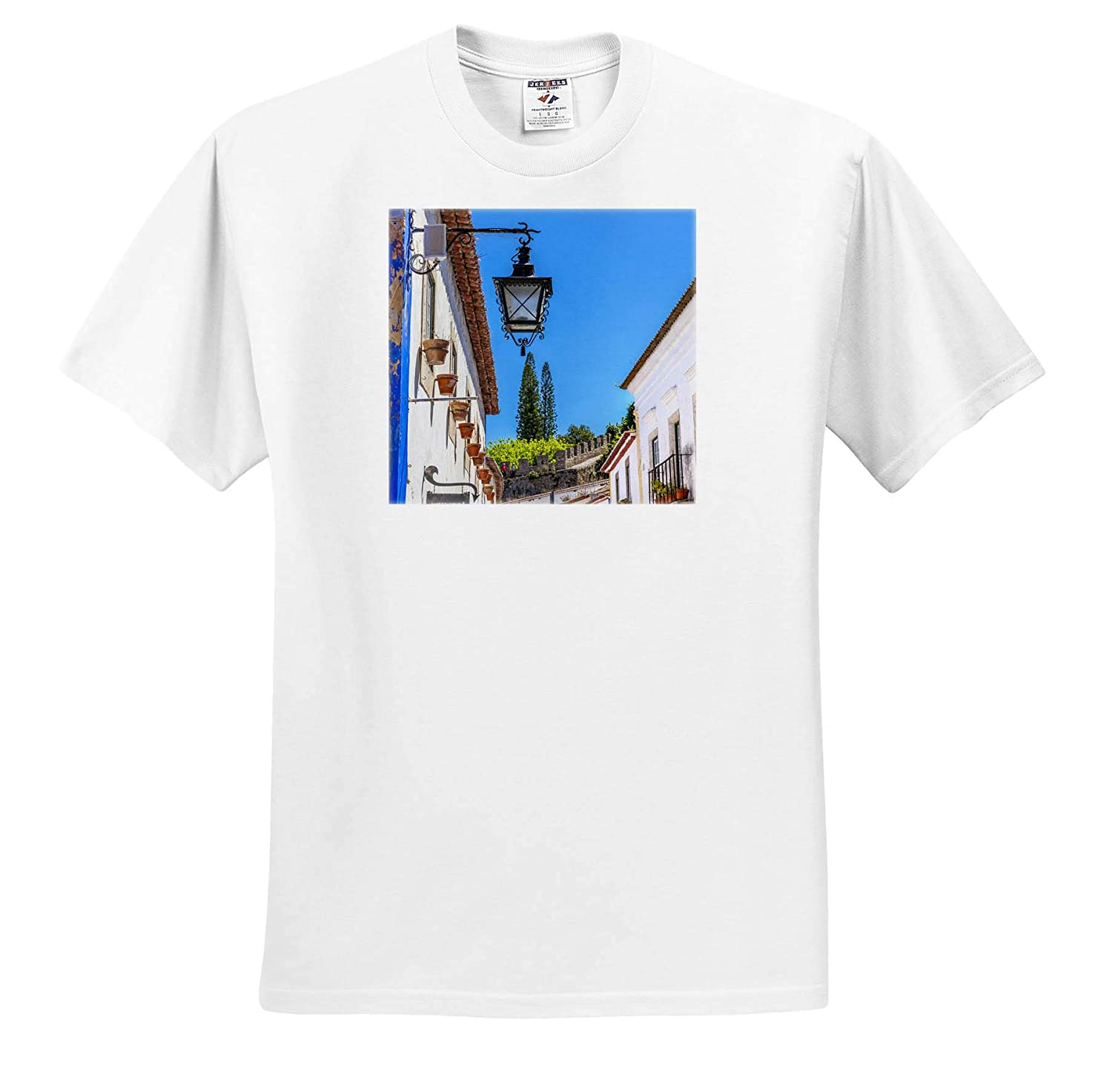 ts/_313836 - Adult T-Shirt XL Portugal Portugal 3dRose Danita Delimont Obidos Medieval Town