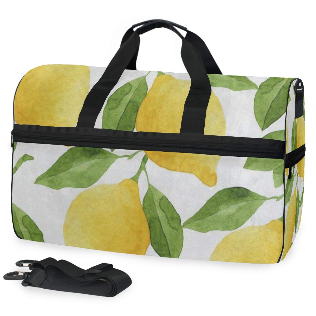 Colored Lemon Tree Leaf Large Canvas shoulder bag with Shoe Compartment Travel Tote Luggage Weekender Duffle Bag