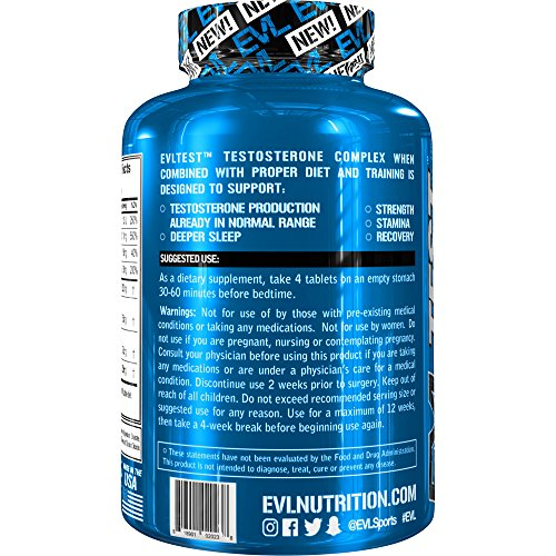 Evlution Nutrition Testosterone Booster EVL Test Training & Recovery Amplifier* (30 Servings) Supports Natural Testosterone Levels, Muscular Strength, Stamina & Optimal Sleep