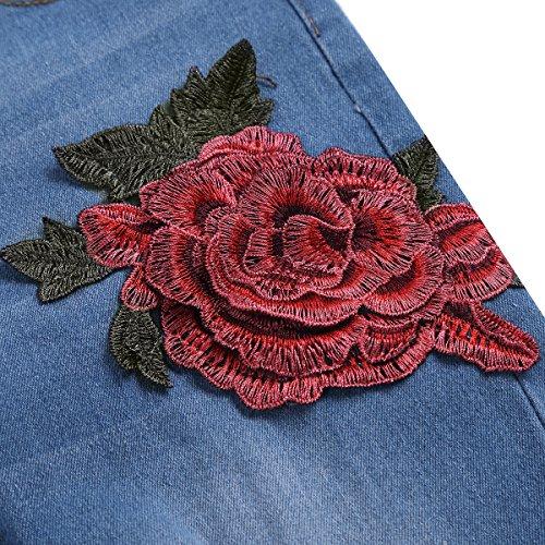Slim Jean lastiques Legging Trou Dchir Printemps 3XL Fleur Et Pantalon Bleu Jean Jeans Femme TiaoBug M Brod pour XqwUx0CnB