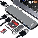 USB C Hub, Nicetech USB C Adapter Hub for Macbook Pro 2017, Type C Charging Port, 40Gbs Thunderbolt 3, 4K HDMI Video Output, SD + TF Card Readers, 2 USB 3.0 Ports for MacBook Pro, USB-C hub Space Grey