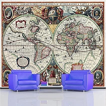 Old World Map Mural.Giant Photo Wallpaper 17th Century Ancient Old World Map Wall Mural
