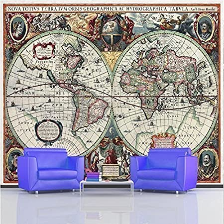 Giant photo wallpaper 17th century ancient old world map wall mural giant photo wallpaper 17th century ancient old world map wall mural 335 x 236m gumiabroncs Choice Image