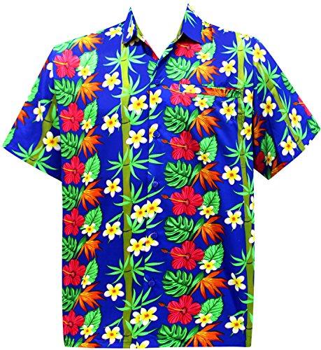La Leela* Aloha Coupe Décontractée des Hommes Occasionnels Bouton Hawaiien Lâche Bleu Chemise Hawaïenne Ble