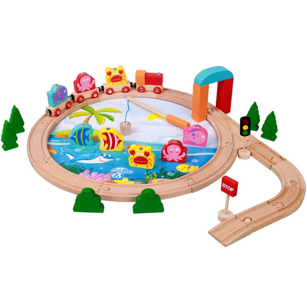 caliente XUMING Juego de Juego de Pesca magnético de de de Madera con Varilla, Juguete Interactivo 3D Puzzle, vía de Tren Externa, Juego 2 en 1, Adecuado para niños de 2 a 6 años  mas preferencial