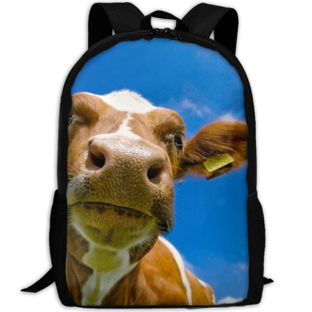 Cute Animal Cow interest印刷カスタムユニークカジュアルバックパックスクールバッグ旅行用デイパックギフト   B078W5KZ1N