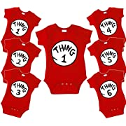 DR. Seuss Thing 1 Thing 2 Funny Baby Onesie - Baby BODYSUITE Size 3-24 Month - Thing 1-7 (0-3 Month, Thing 1) Red