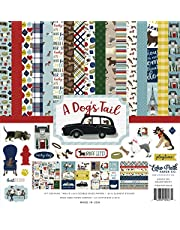 Echo Park Paper Company A Dog's Tail Collection Paper, 12-x-12, yellow, red, navy, sky blue, brown, green