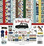 Echo Park Paper Company ADT155016 a Dog's Tail Collection Paper, Yellow, Red, Navy, Sky Blue, Brown, Green