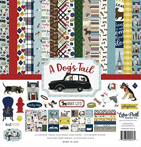 Echo Park Paper Company ADT155016 A Dog's Tail Collection Paper, 12-x-12, Yellow, red, Navy, Sky Blue, Brown, Green from Echo Park Paper Company