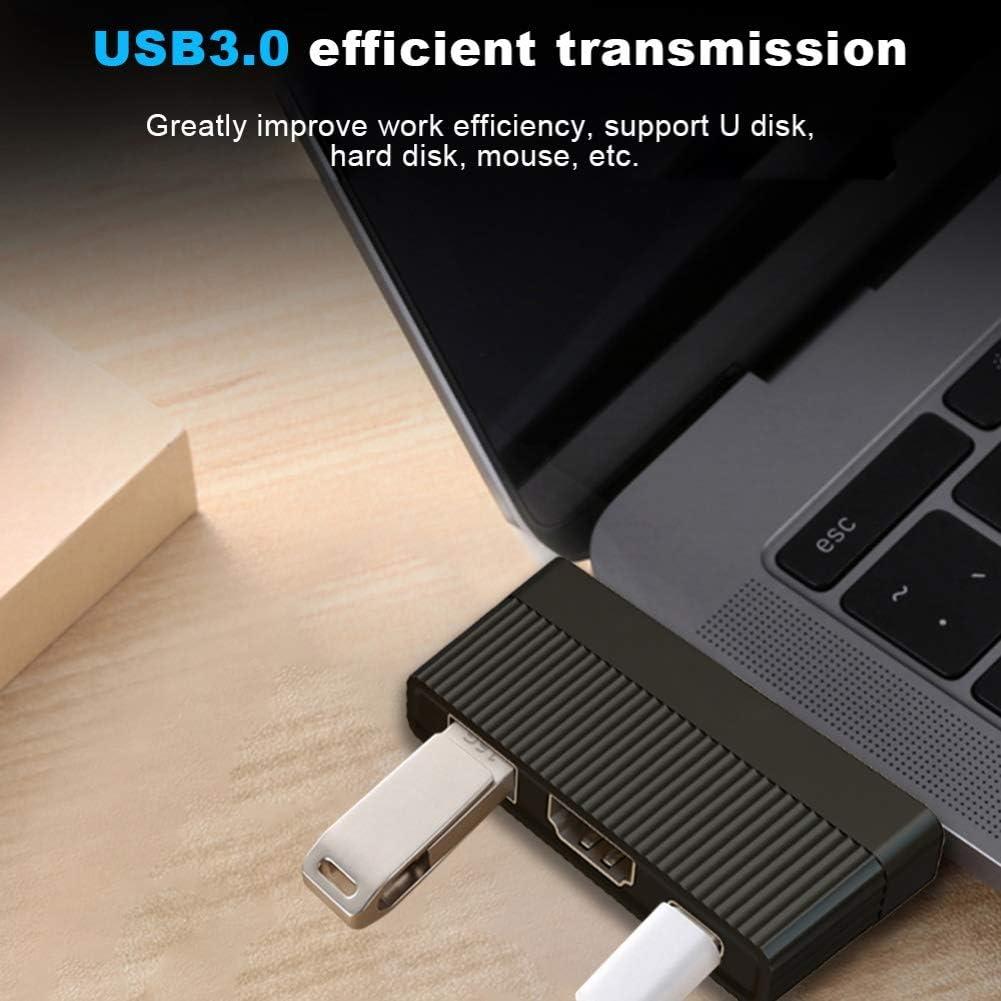 hudiemm0B Type-C Hub 3 in 1 Type-C to 4K HDMI PD Charging USB 3.0 Adapter Hub Converter for MacBook