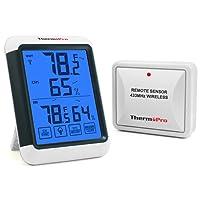 ThermoPro TP65 Digitales Funk Thermo Hygrometer, Wohnklimakontrolle,Klima-Monitor mit Funk-Außensensor