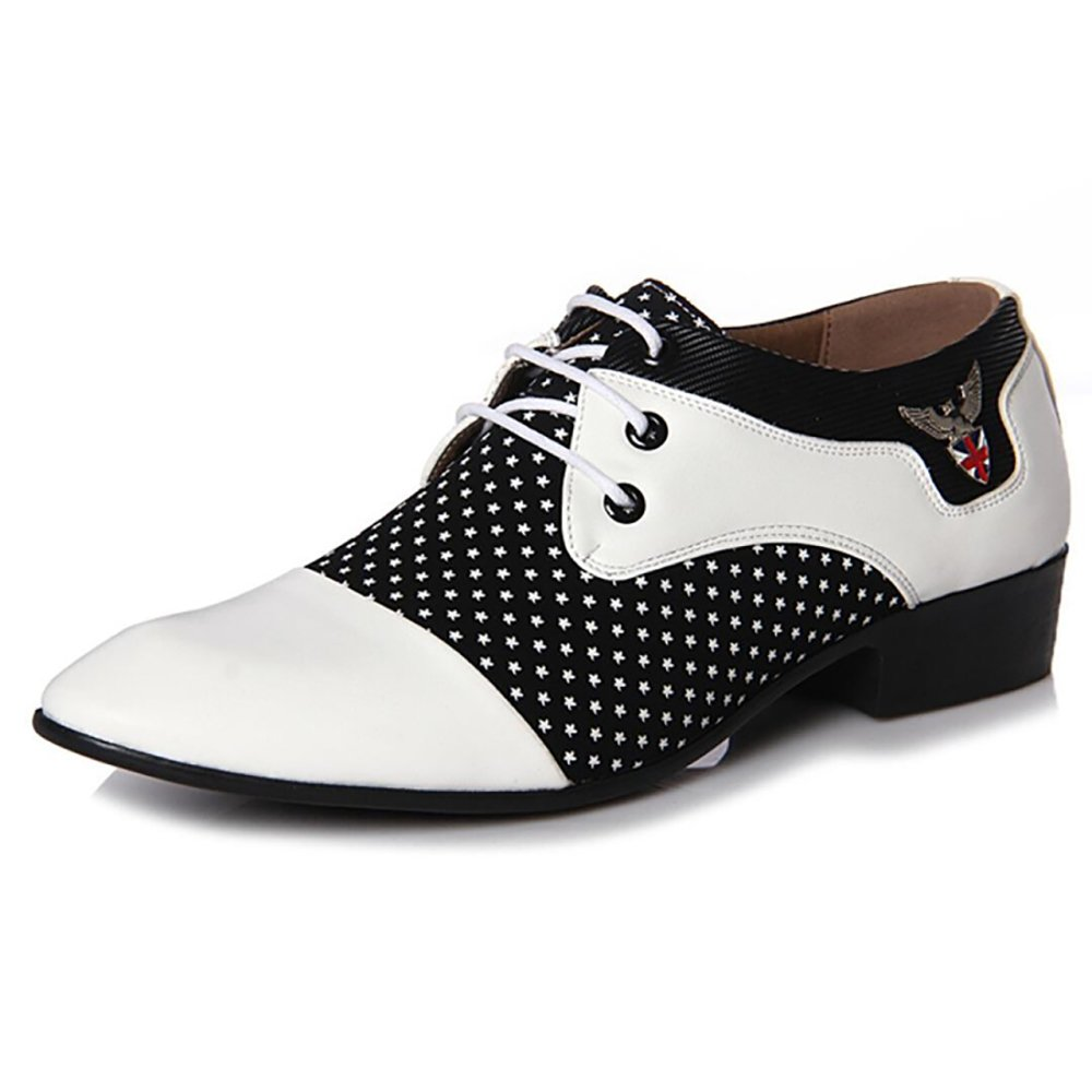 Men Designers Luxury Fashion Dress Casual Formal Wedding Business White Black Zapatos Hombre Oxford Shoes (7.5, White with Star Design) by Jacky's Oxfords Shoes
