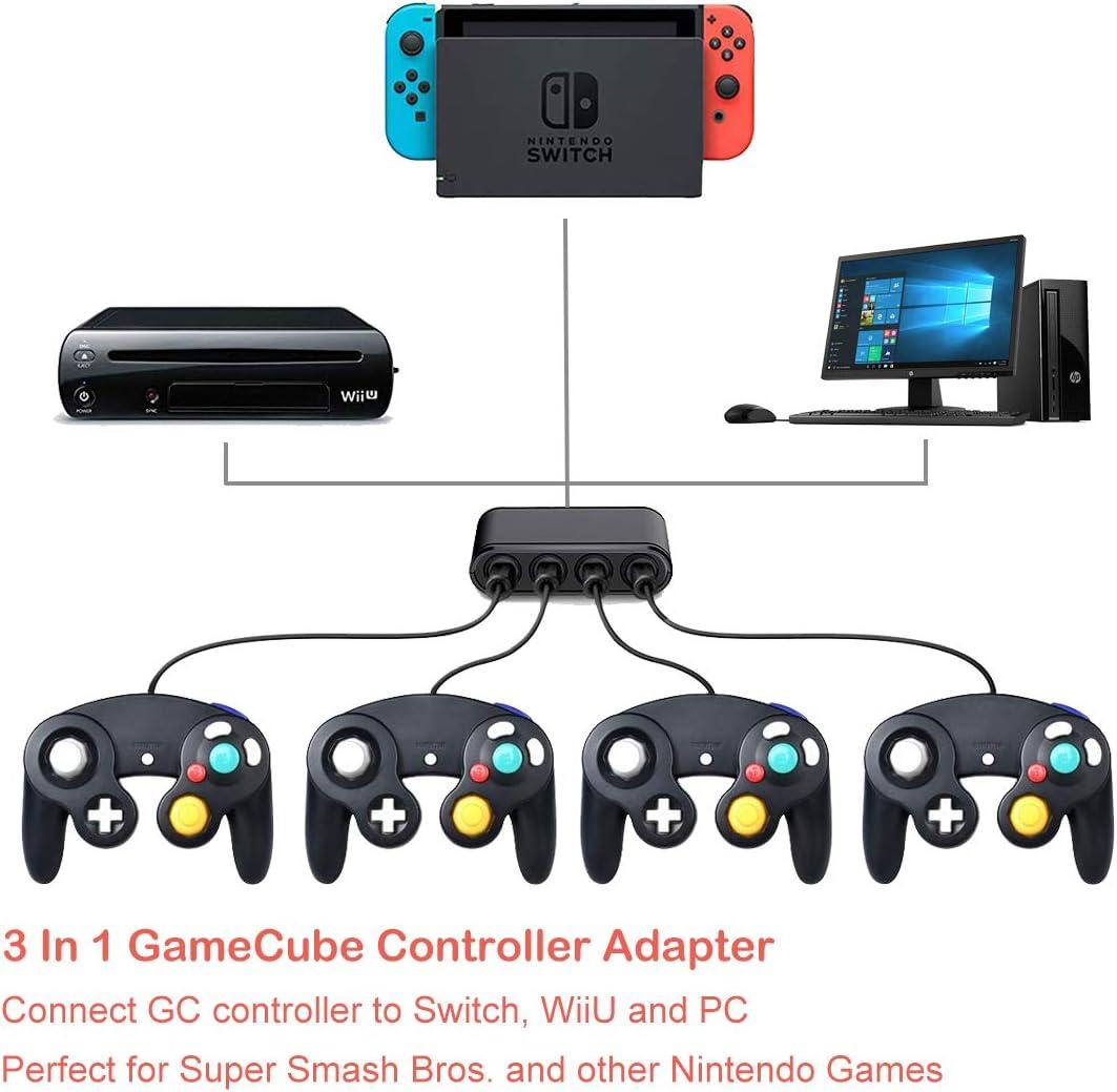 Adaptador de mando de juego para Wii U Gamecube, adaptador Super Smash Bros Ultimate, controlador GC para PC, con 4 puertos de reproductor y salida USB 2.0 extra, no necesita retraso y