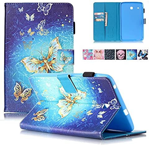 Galaxy Tab E 8.0 Case, T375/T377 Case, Firefish Kickstand Wallet Case with Card Slots Shock Resistance Magnetic Closure Protect Case for Samsung Galaxy Tab E 8.0 inch T375/T377 -Golden (Butterfly 7000)