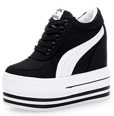 766554ce427 Amazon.com | MRxcff Sneakers Women High Heels Autumn Canvas Casual Wedge Shoes  Women Height Increasing Platform Shoes | Fashion Sneakers