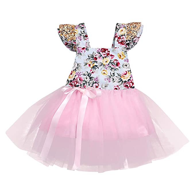 5a0a7347c805 Amazon.com  Toddler Baby Girls Clothes Floral Sleeveless Dress ...