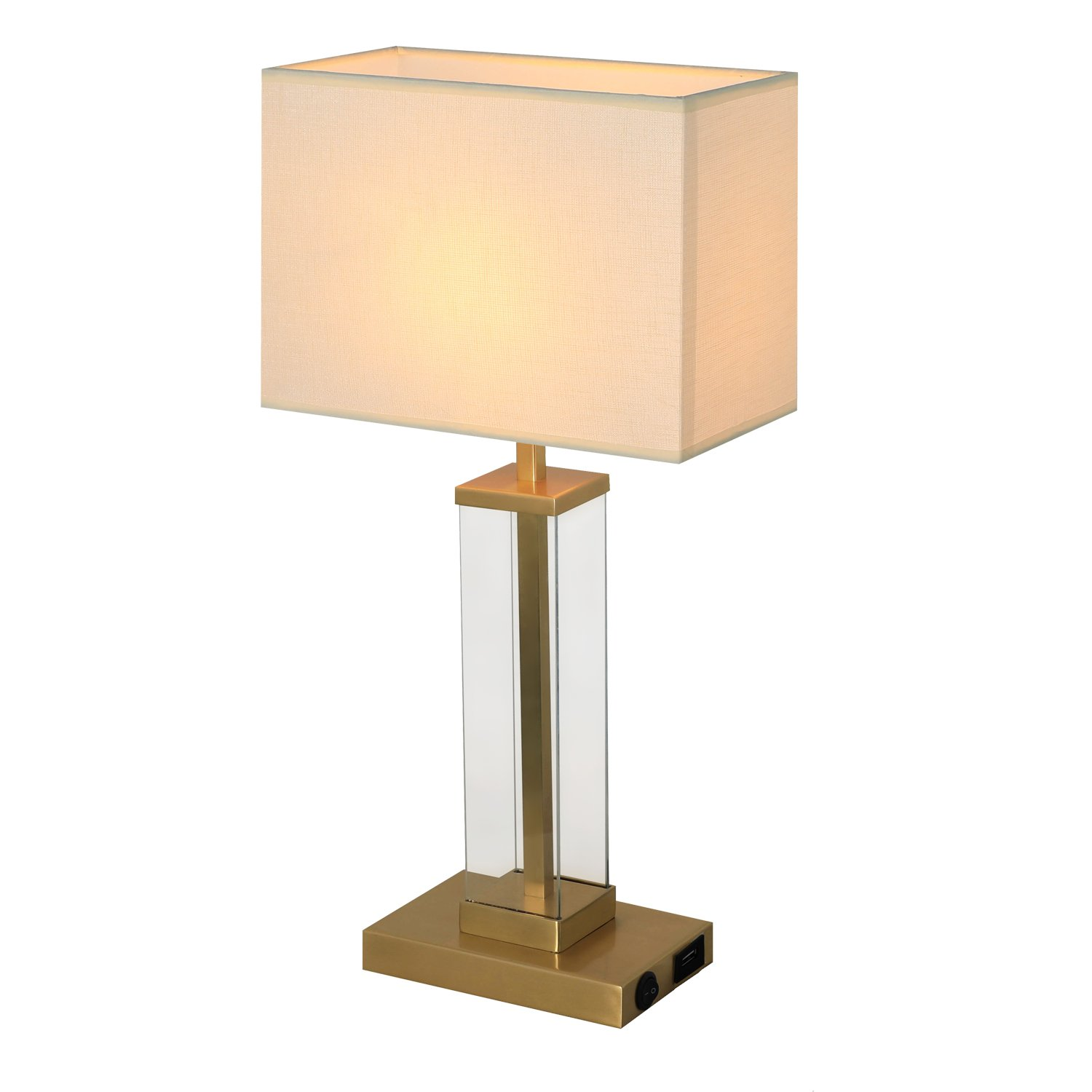 Brass Table Lamp, HOMPEN Desk lamp with Build-in 5V/2A USB Charging Port, Pure Brass Base with Glass Panels Framed, Cream Lamp Shade