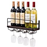 Soduku Wall Mounted Metal&Wood Wine Rack With 4 Long Stem Glass holder | Home & Kitchen Décor | Storage Rack