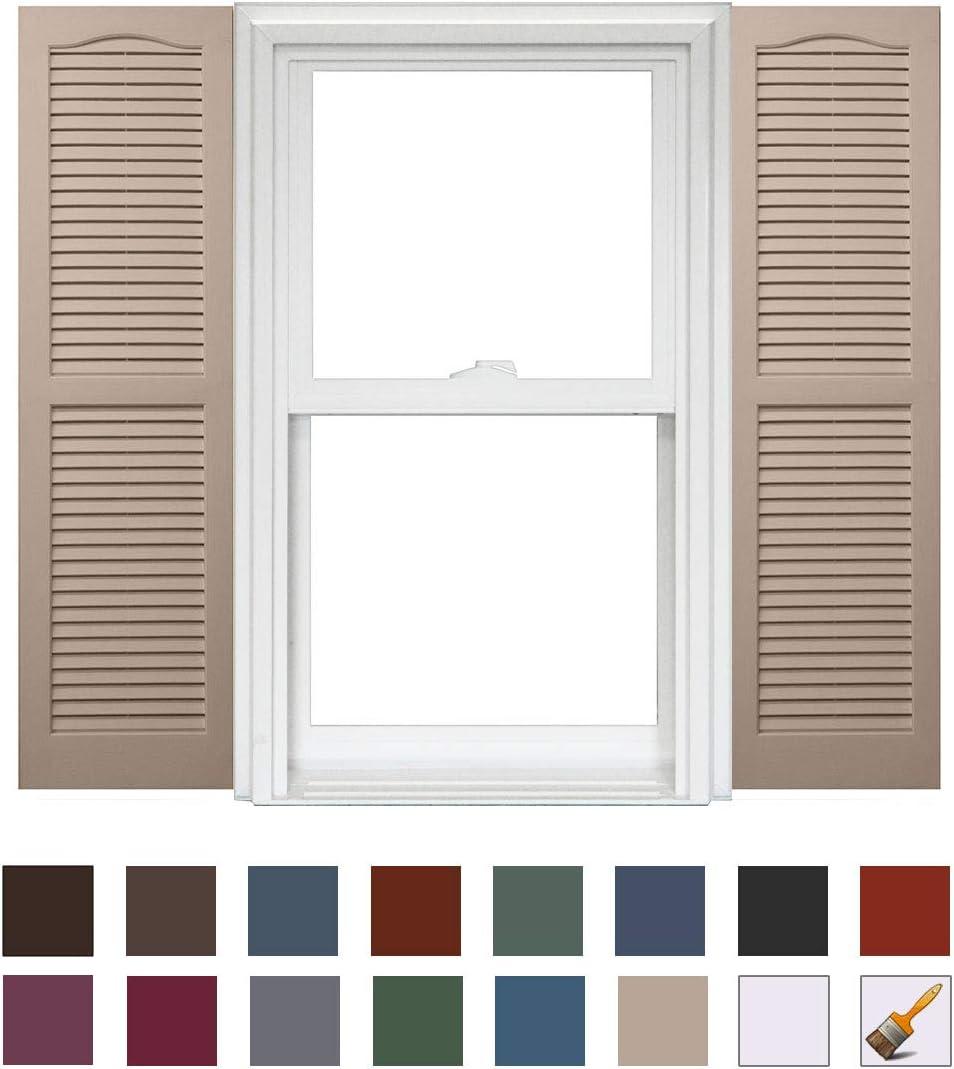 Homeside Open Louver Shutter 1 Pair 14-1//2in x 55in 730 Sandstone