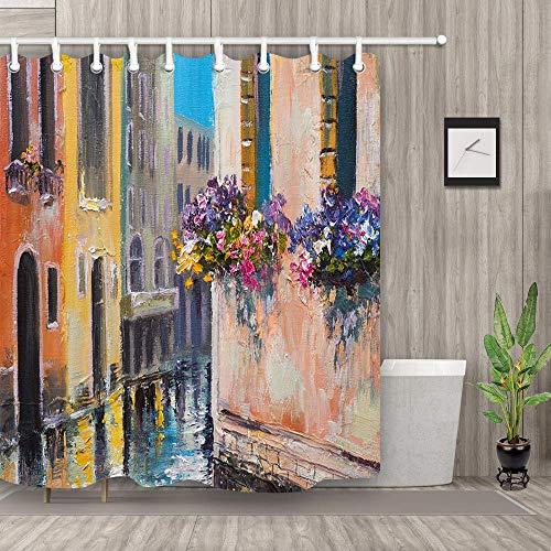 (Nyngei Oil Painting Shower Curtain Venice Street Art Printing Polyester Fabric Waterproof Bath Curtain)