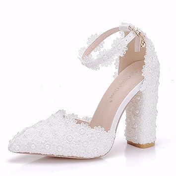 verdadero negocio siempre popular muy elogiado GAIHU mujer Tacones altos macizos bombas blanco boda zapatos ...