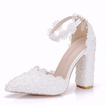 4e4654dc GAIHU mujer Tacones altos macizos bombas blanco boda zapatos para novia  damas sandalias al tobillo Corte Pearl Lace zapatos nupcial vestido de  fiesta talla ...