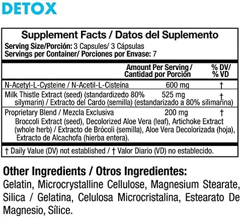 Yes You Can! Detox - 7 Day Quick Cleanse to Support Detox, Reach Ideal Weigh & Increase Energy Levels, Contains Aloe Vera, Broccoli Extract, N-Acetyl L-Cysteine - Adelgazar y Dieta - 21 Capsules 6