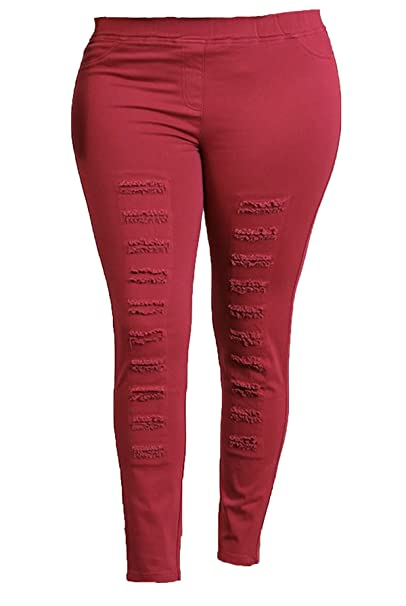search for newest various design color brilliancy Women's Plus Size High Waisted Distressed Jegging